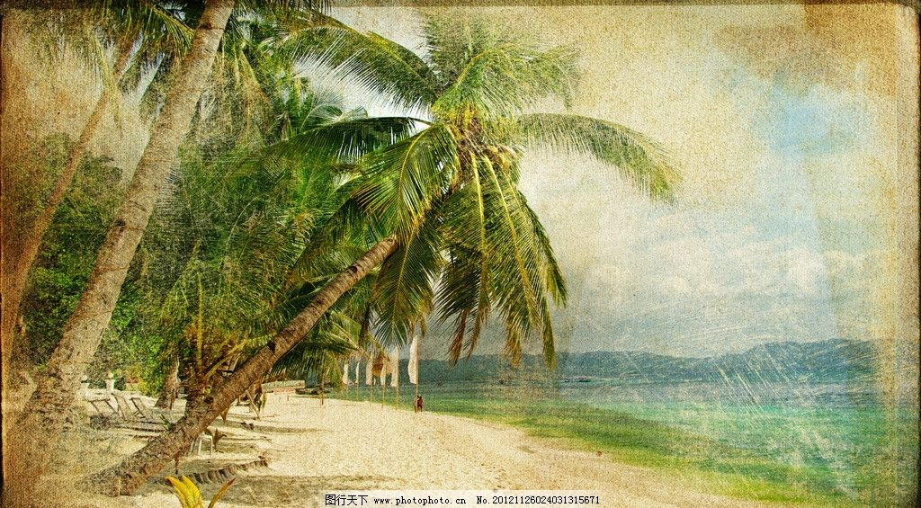 海边 沙滩 热带 树木 椰树 棕榈树 蓝天 白云 牛皮纸 纸纹