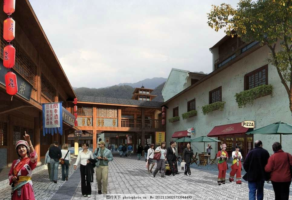 古典民俗商业街 中国风 店铺 商店 老字号 红灯笼 少数民族 房地产
