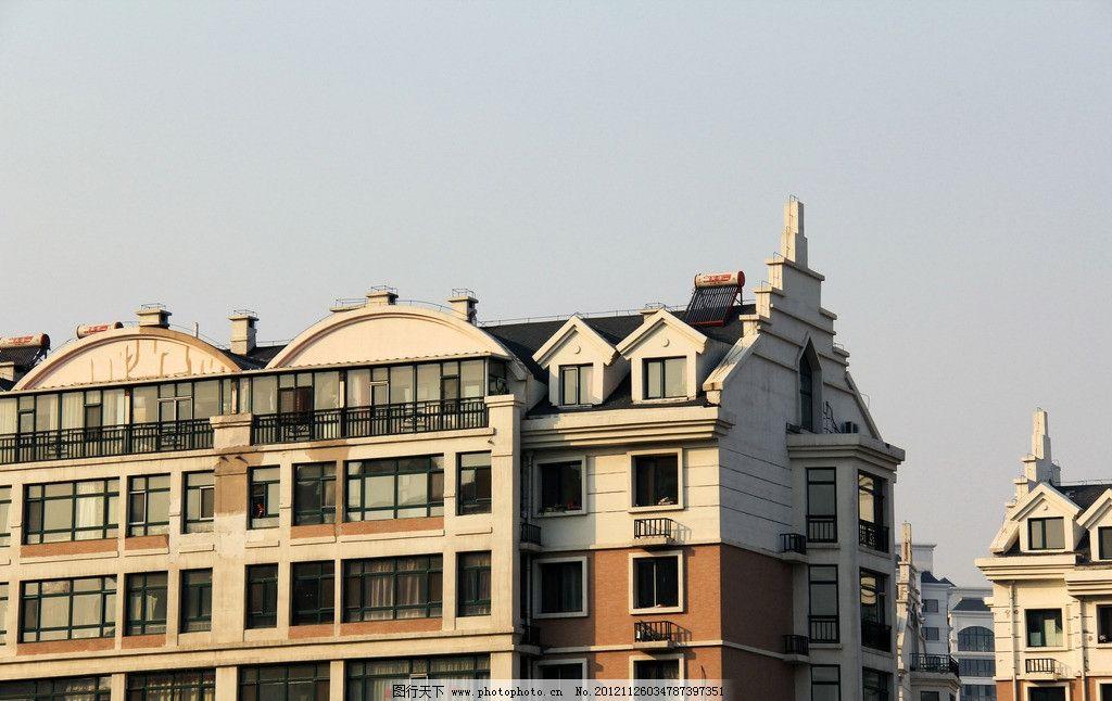 哈尔滨建筑 哈尔滨 建筑 欧式 住宅 屋顶 楼房 建筑景观 自然景观
