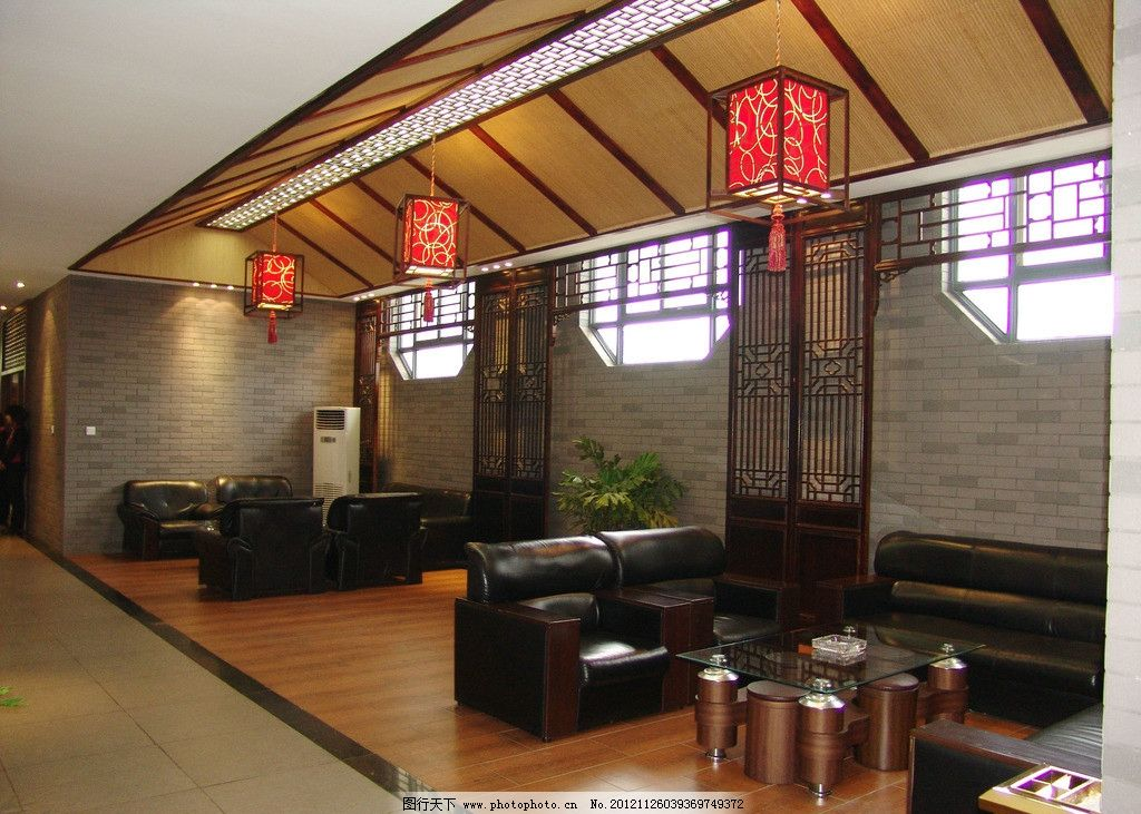 酒店会客接待 酒店 星级酒店 咖啡厅大厅摄影 花纹 祥云 古典中式风格图片