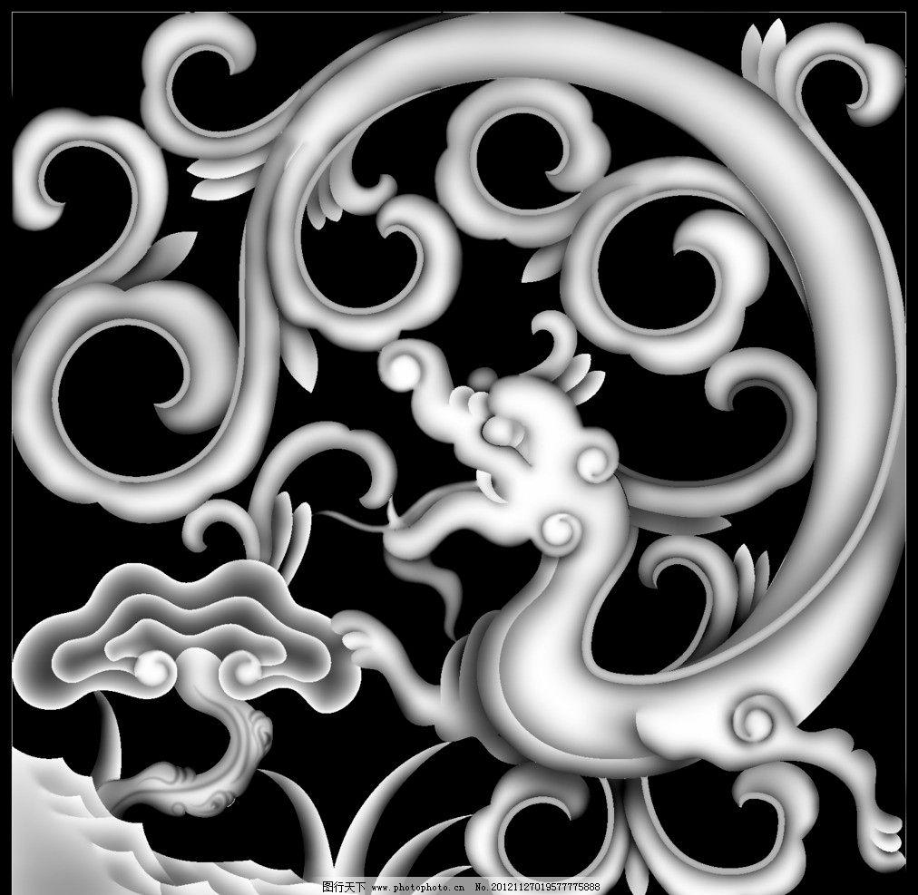 中国龙 灰度图 龙 花纹 植物 浮雕 雕刻 其他 文化艺术 设计 100dpi