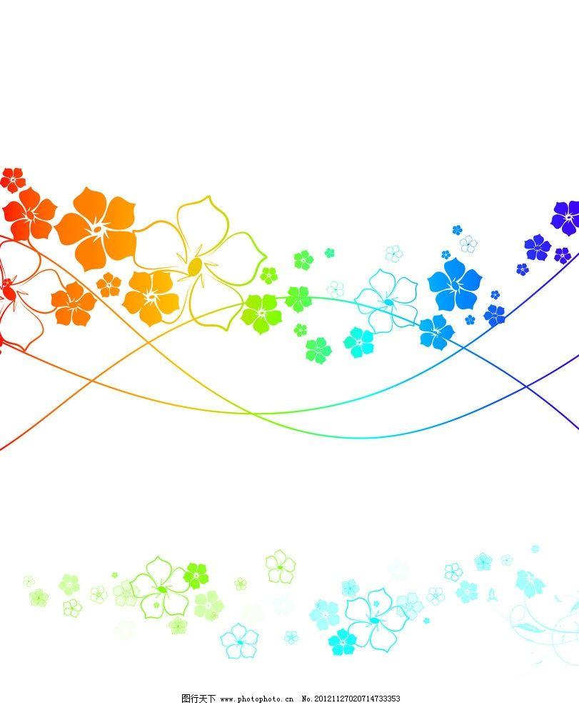 飘零 彩色 花朵 花瓣 五角形 线条 底纹 背景 移门图案 底纹边框图片