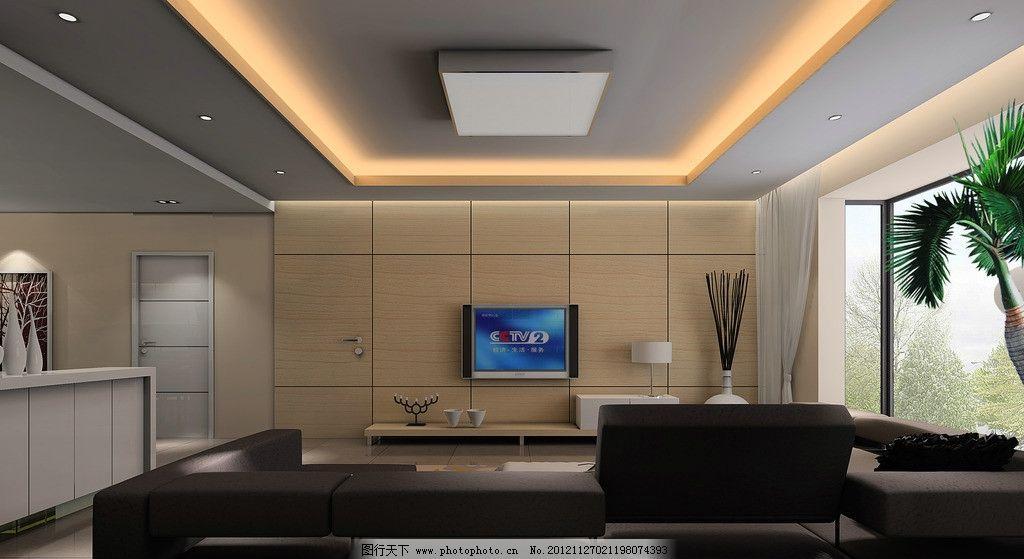现代客厅效果图背景沙发玻璃墙灯带条装饰品电视柜装饰背景墙直线吊顶效果图图片