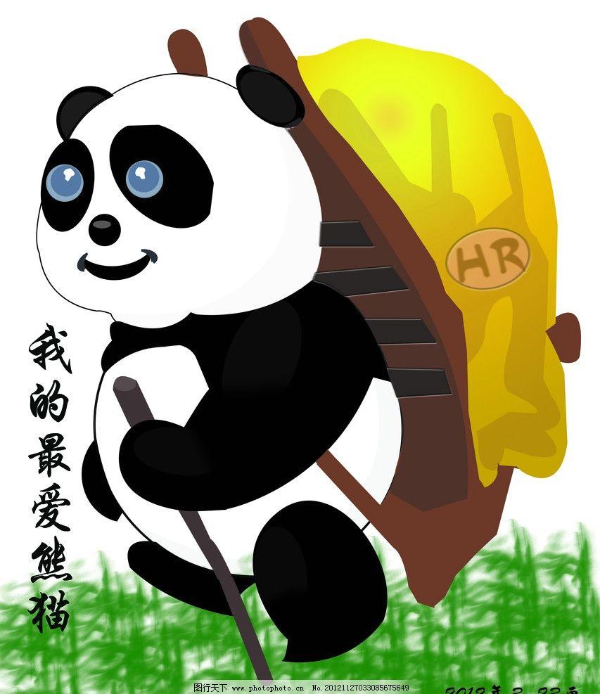 超现实组合手绘熊猫