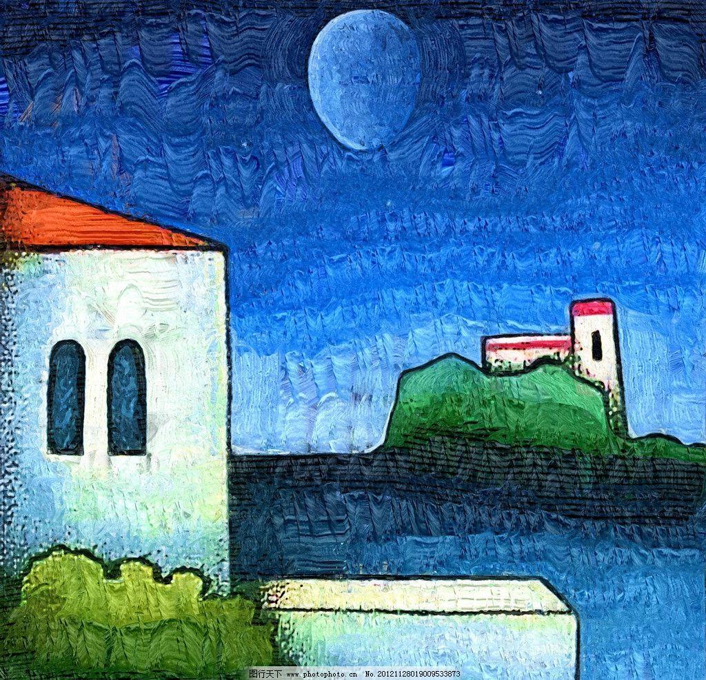 海边 油画 装饰画 无框画 手绘 绘画 抽象画 风景画 房屋 绘画书法