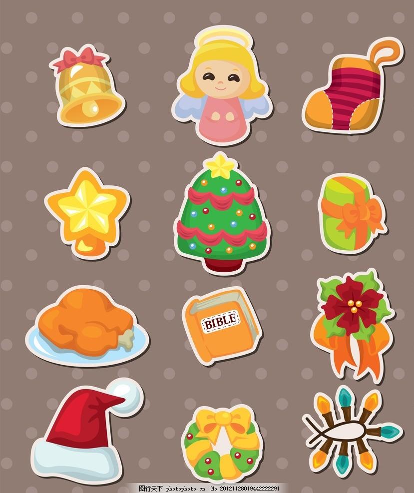 可爱的卡通圣诞节元素 可爱小朋友 小天使圣诞帽 鹿 圣诞节贴纸 圣诞