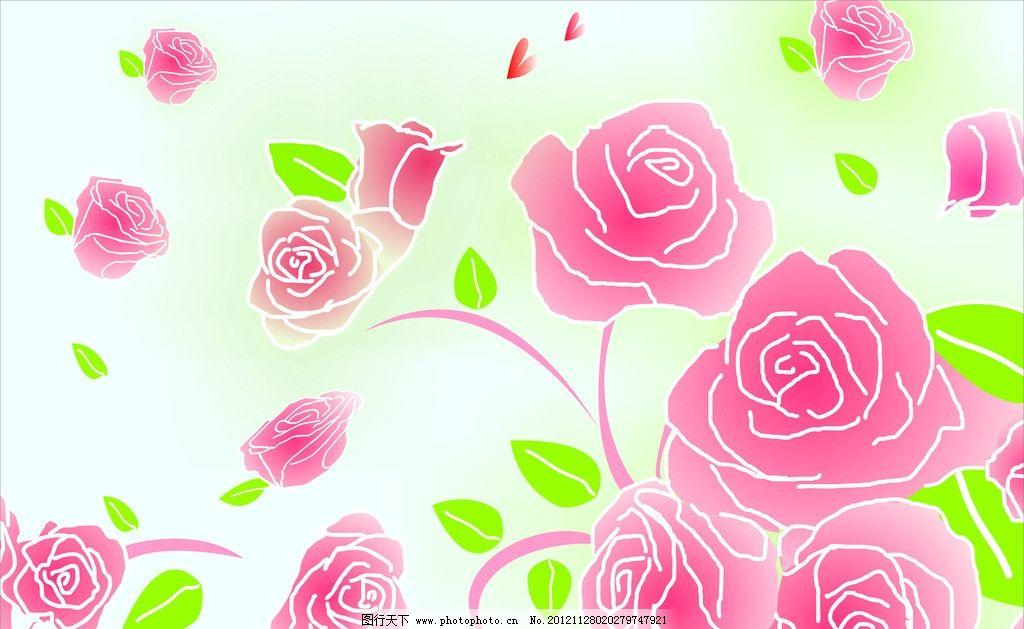 矢量玫瑰花 cdr 矢量图 玫瑰花 树叶 线条 底纹背景 底纹边框 矢量