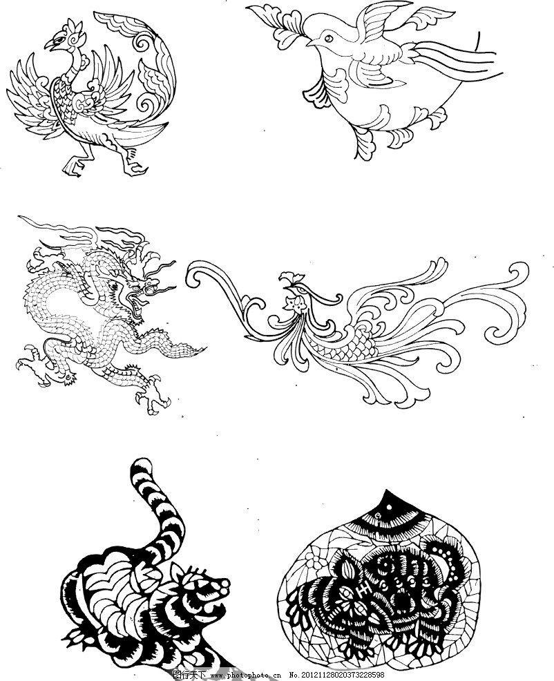 动物矢量图案 火鸡 凤凰 龙虎 野生动物 动物图案 花纹花边
