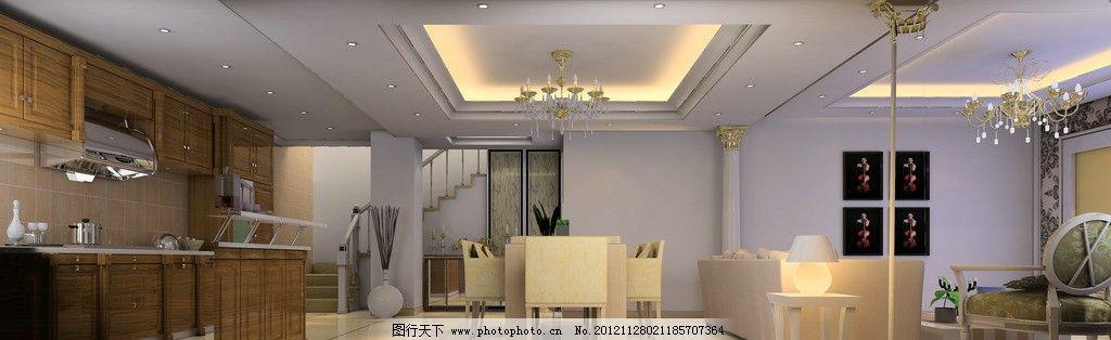 简欧餐厅效果图 简欧 实木厨柜 餐桌 线条吊顶 罗马柱 欧式灯 开放