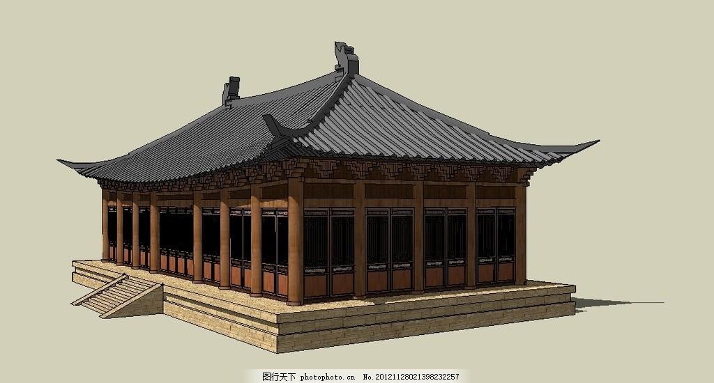 古建模型 小庑殿顶建筑