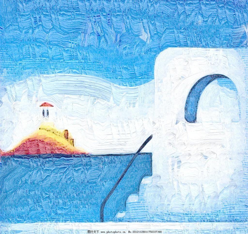 海边 抽象画 房屋 风景画 绘画 绘画书法 手绘 海边设计素材