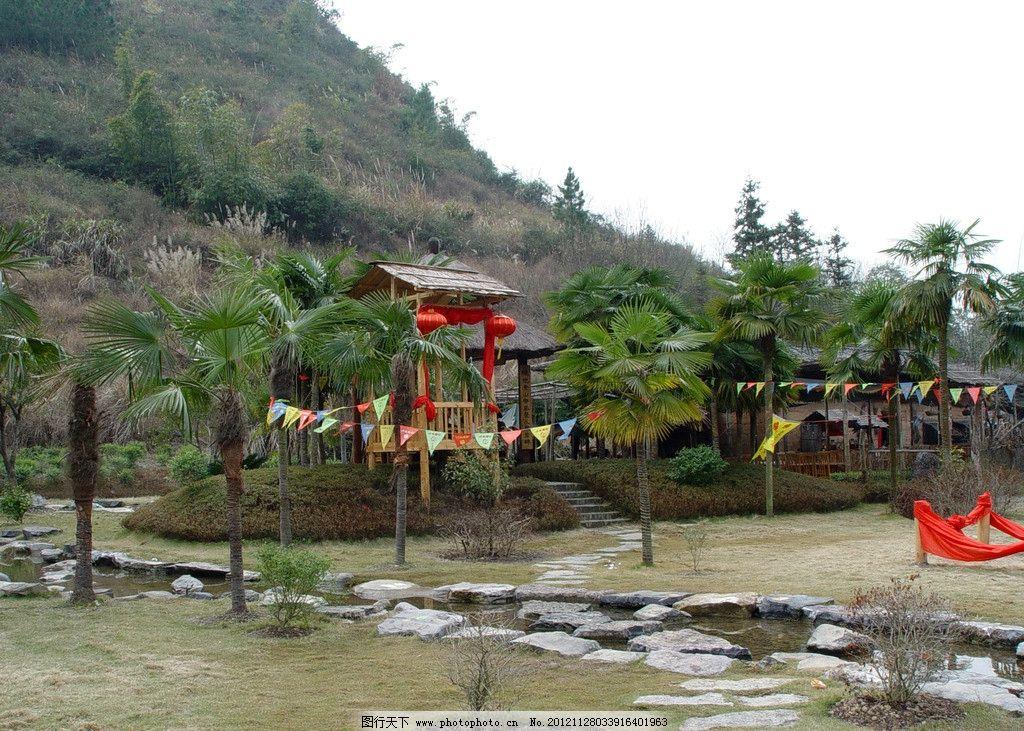 桂林风景 山 椰子树 亭子 石阶 红灯笼 流水 国内旅游 旅游摄影 摄影