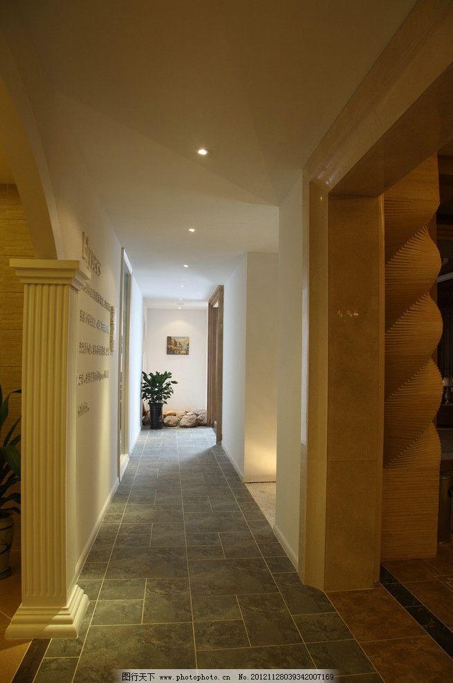 走廊 欧式 射灯 地砖 罗马柱 室内摄影 建筑园林 摄影 350dpi jpg