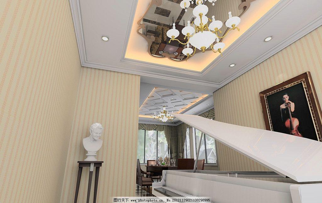 欧式客厅效果图 欧式 钢琴 吊顶 白色烤漆 墙纸 灰镜顶面 线条吊顶 挂