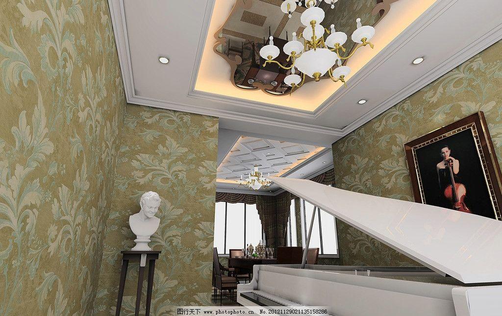 线条吊顶 挂画 筒灯 石膏人 木线条 花型吊顶 深色 吊灯 简欧 3d作品图片