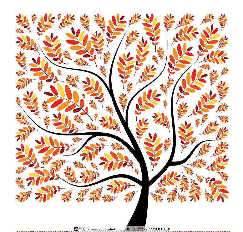 方形红叶树叶树木图片