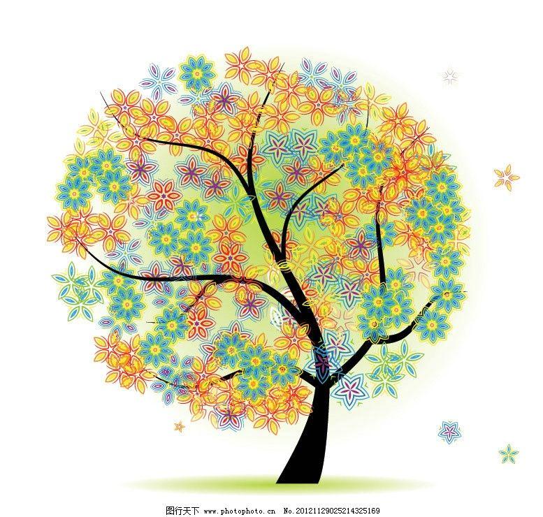 圆形可爱花纹树木图片