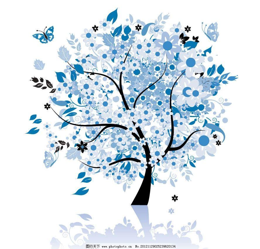 花纹 树木 树叶 鲜花 花朵 花卉 绽放 盛开 美丽 缤纷 灿烂 手绘 可爱