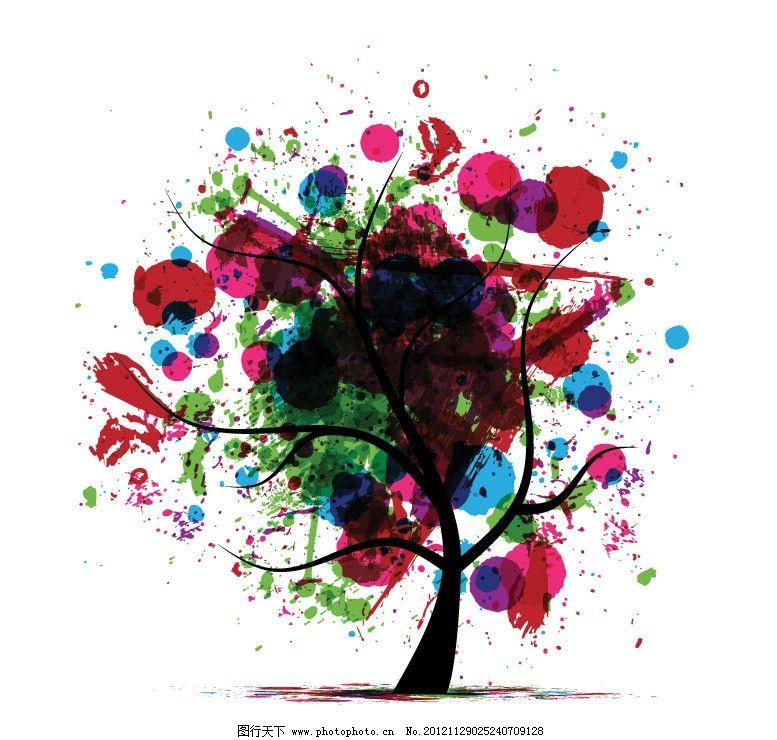 树木 树叶 花纹 手绘 可爱 创意 背景 底纹 矢量 植物主题 树木树叶