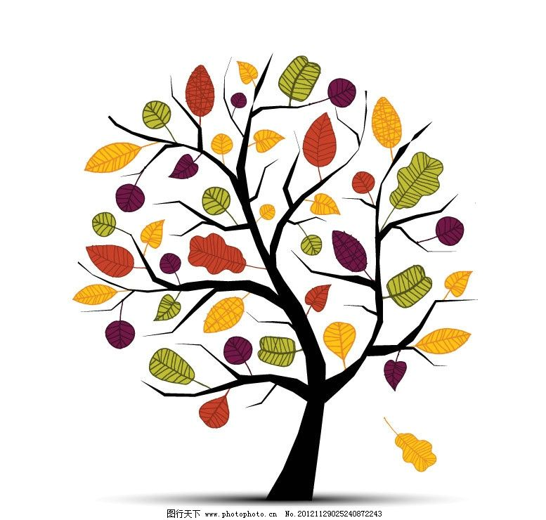 可爱树叶树木图片