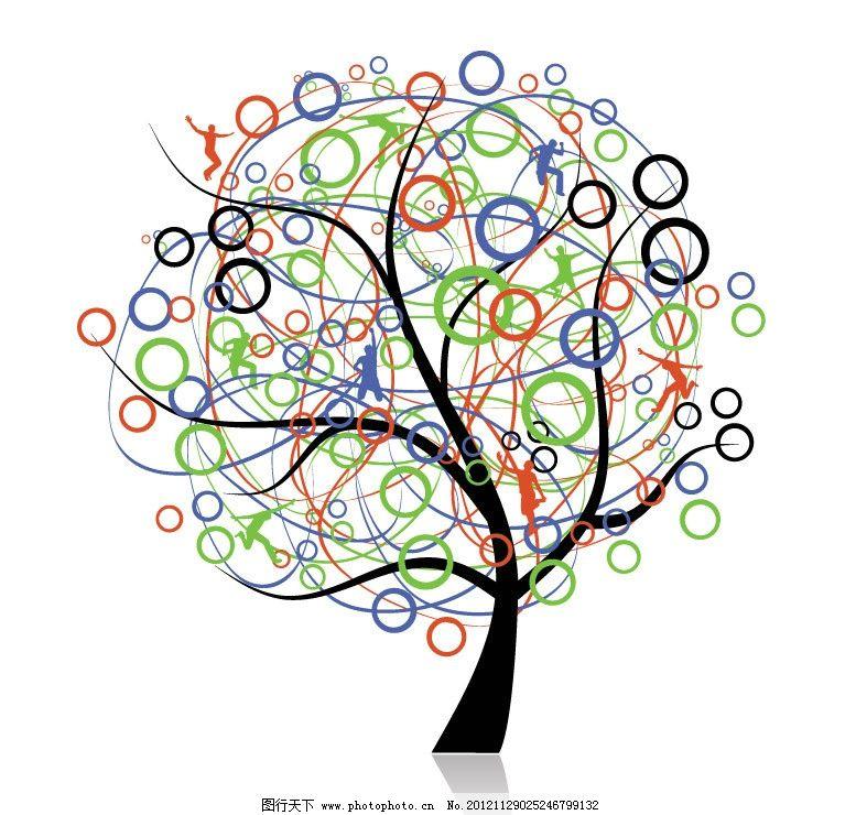 七彩线条圈圈花纹树木 跳跃人物剪影图片