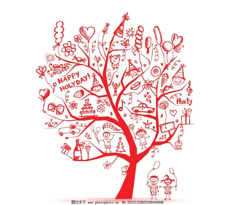 树手绘简单剪纸