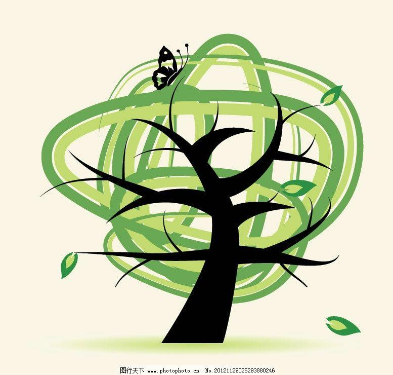 线条卡通绿树 蝴蝶图片