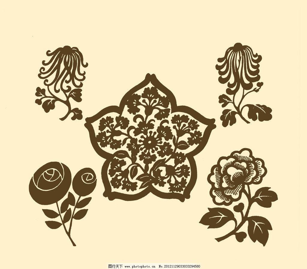 团花剪纸 团花 圆花 图案 纹样 花样 牡丹 吉祥 传统 菊花 花卉 剪纸