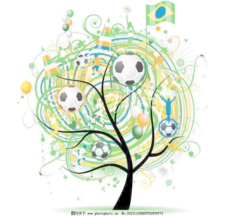 创意 底纹 动感 剪影 卡通树 线条圈圈足球树木矢量素材 线条圈圈足球