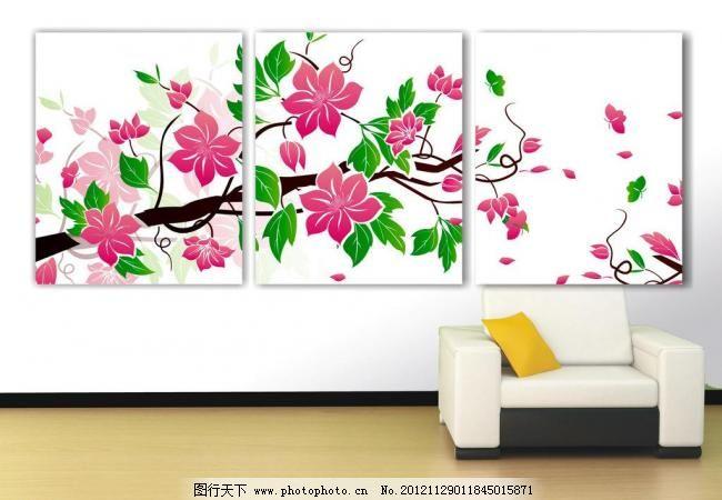 壁画 大山 大树 风景画 风景如画 高山 挂画 红花 蝴蝶 花 矢量墙贴