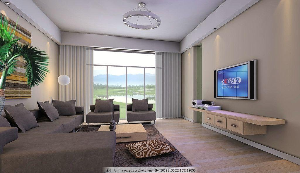 现代客厅效果图 墙纸 电视 地毯 米黄色乳胶漆 复式 暖色 咖啡色沙发