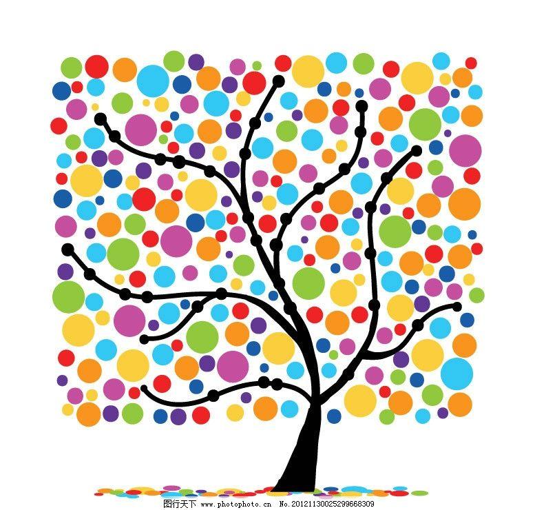 方形七彩圆点花纹树木图片