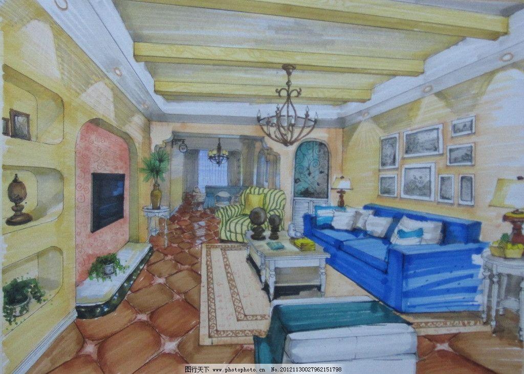 手绘 沙发 电视墙 吊灯        室内设计 马克笔 田园风格 环境
