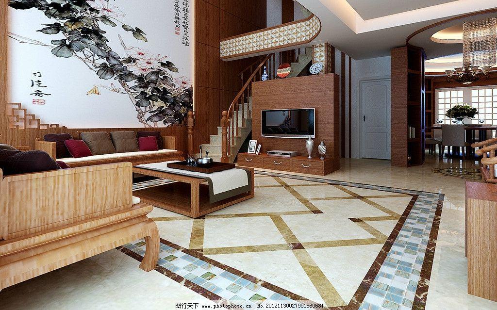 设计图库 环境设计 室内设计  客厅效果图 客厅 楼阁 地板砖 地毯