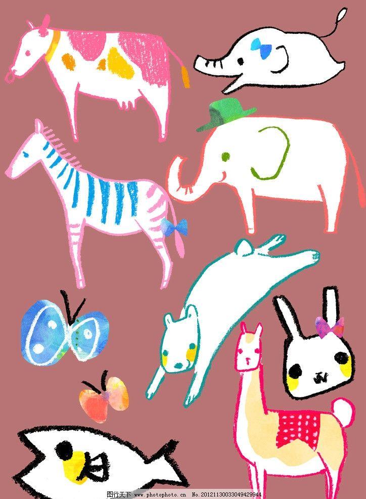手绘动物素材 动物 手绘 有趣 卡通 psd 分层 psd分层素材 源文件 300