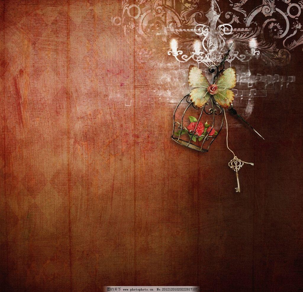 复古背景 古典 仿古 古典背景 花朵 玫瑰花 音符 蝴蝶 叶子 钥匙 背景