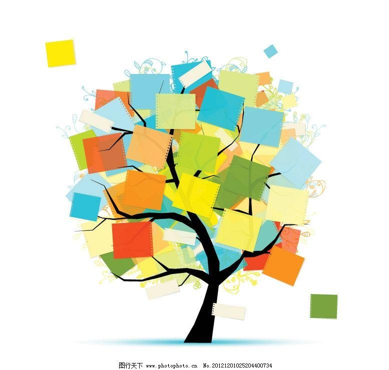 彩纸花纹树木图片
