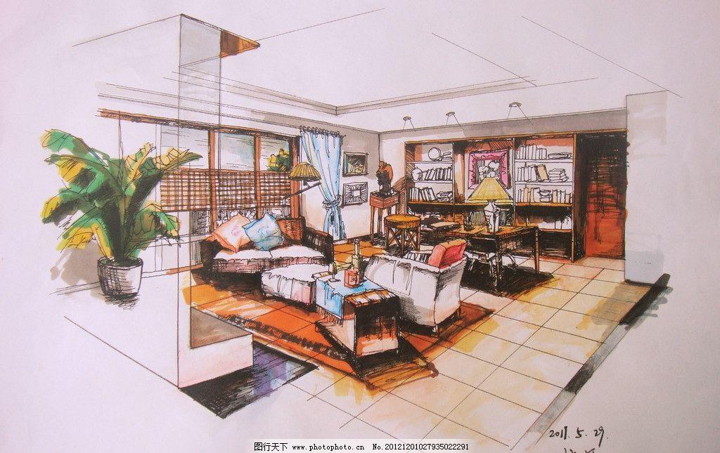 室内客厅手绘 室内      马克笔 手绘 书柜 椅子 室内设计 环境设计