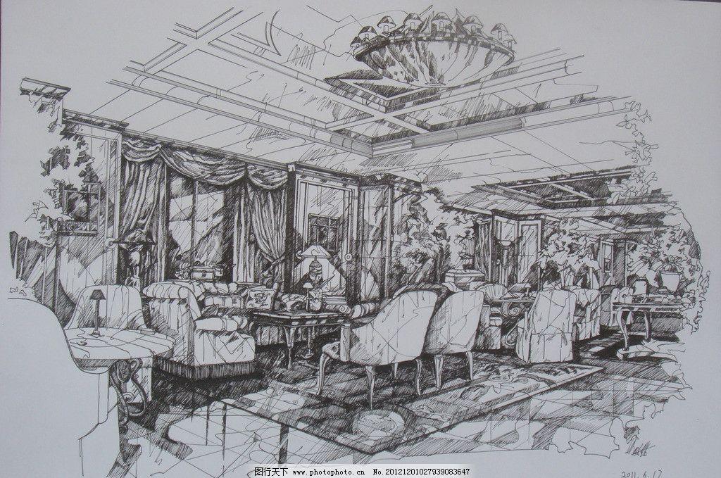 室内餐厅手绘 咖啡店 线稿
