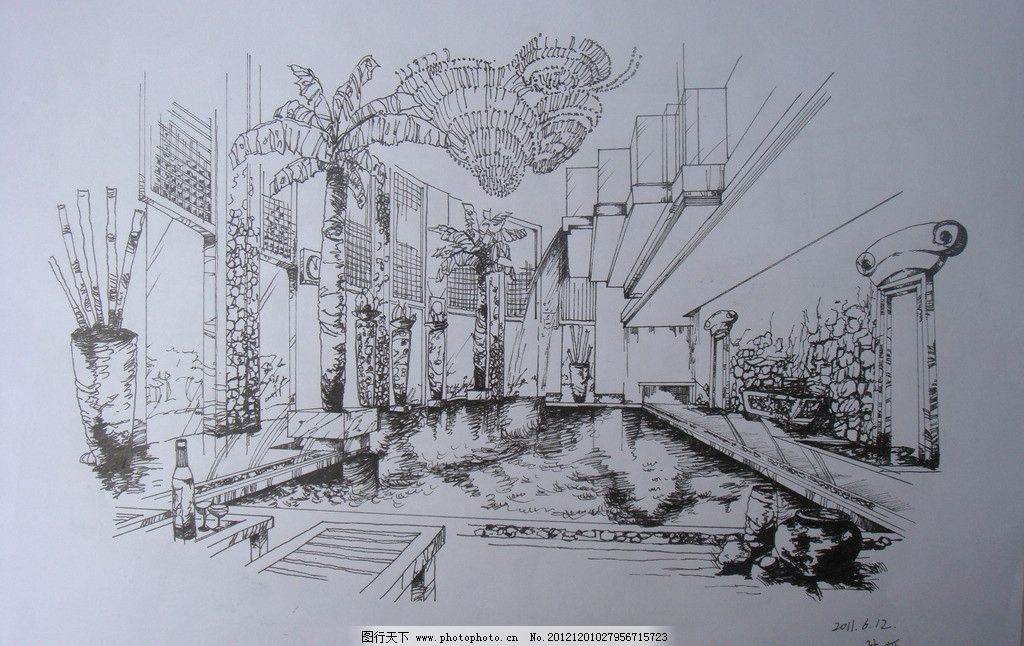 室内水景手绘 室内 水池 景观 大厅 线稿 手绘 室内设计 环境设计