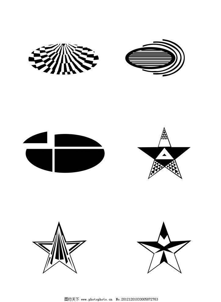 图形设计 椭圆形 五角星形 图形 点线面结合 点 线 面 源文件 300dpi