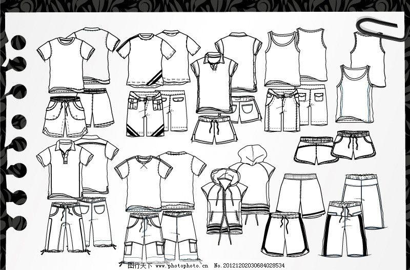 春夏童装线框结构图 t恤 背心 polo衫 衬衫 短裤 中裤 长裤 图案 款式