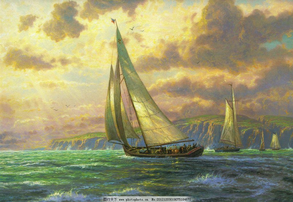 风景油画 装饰画 壁画 西方艺术 当代 商业 唯美 童话世界 云层 大海
