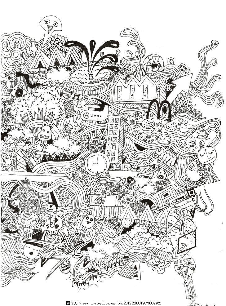 混搭插画 插画 商业插画 涂鸦 黑白 线条 抽象 绘画书法 文化艺术