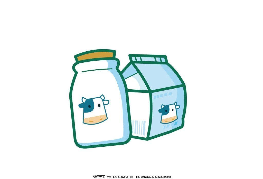 牛奶瓶和牛奶盒子 牛奶瓶 牛奶盒 牛 奶 可爱 韩版 q版 矢量素材 其他