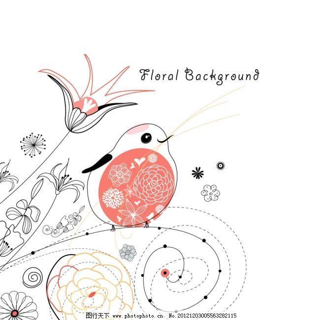 矢量卡通线条明信片线描花纹免费下载 彩绘 儿童画 卡通背景 可爱动物