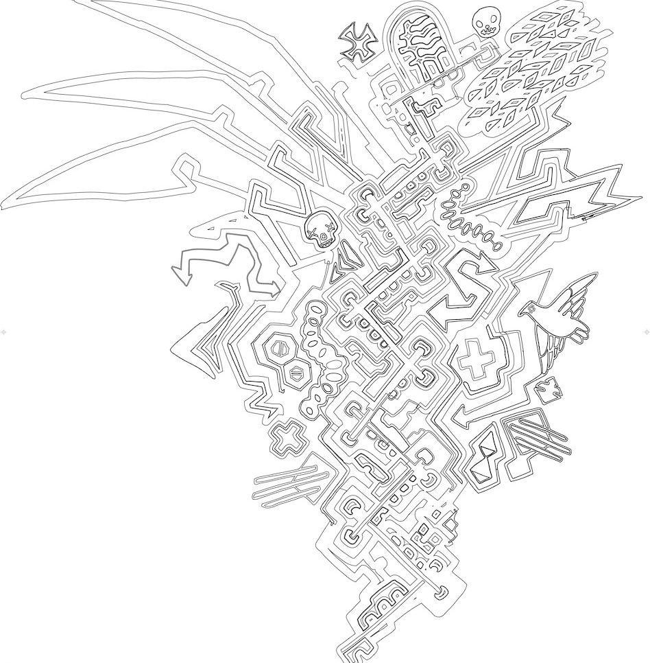 迷宫 翅膀 箭头 骷髅 美术绘画 十字 文化艺术 线条 迷宫矢量素材
