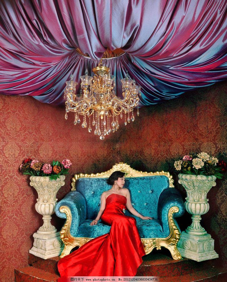 婚纱照 欧式宫廷 大气简约 鲜花 纱帘 华丽吊灯 华丽 女王范 女性女人