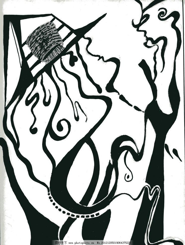 抽象装饰画 线 黑白 面 点 曲线 抽象 无框画 装饰画 绘画书法 文化