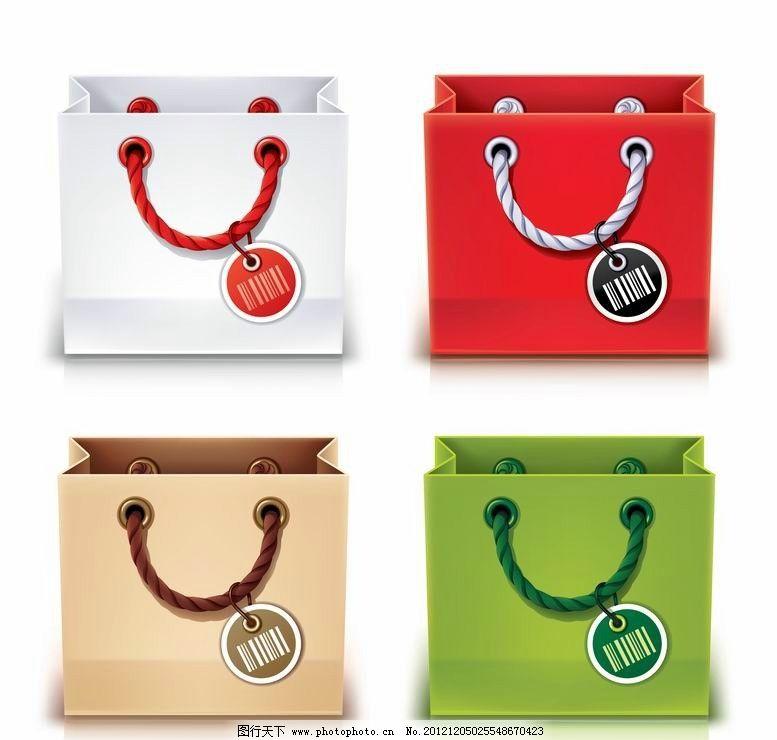手绘购物袋 纸袋 矢量 生活用品主题